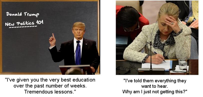 Trump schools Clinton
